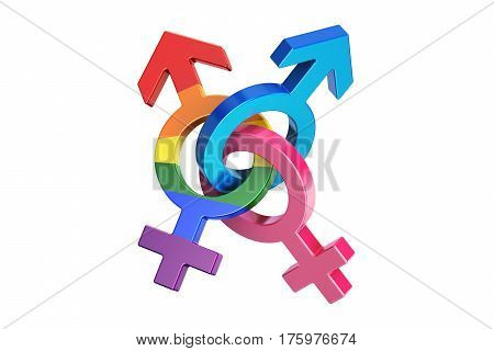 gender symbols 3D rendering isolated on white background