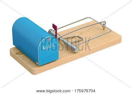 mailbox in mousetrap 3D rendering isolated on white background