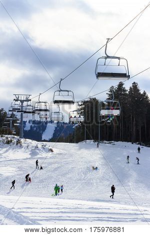 Ski Lift and Skier, Ski Resort Winter Season
