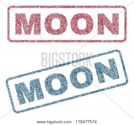 Moon text textile seal stamp watermarks. Blue red fabric vectorized texture. Vector tag inside rounded rectangular banner. Rubber sticker with fiber textile structure.