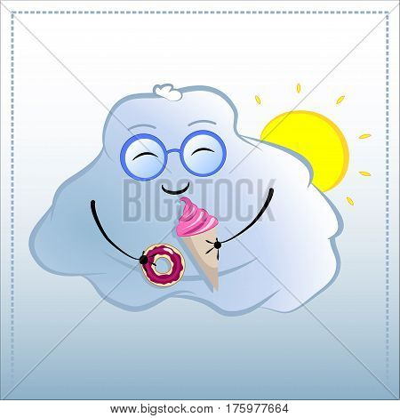 Cartoon character with donut and icecream. Cute Cloud in glasses vector illustration. Hand-drawn character for tasty dessert unhealthy food fat person bad habits happiness from sweets concepts