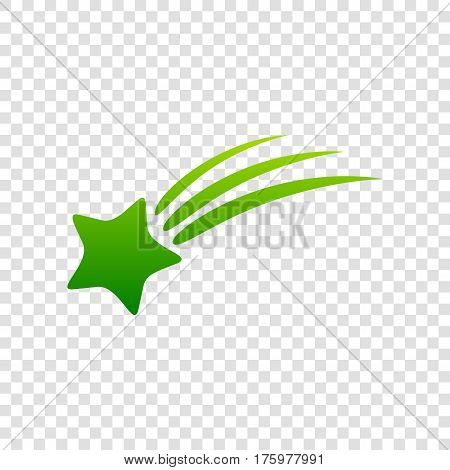Shooting Star Sign. Vector. Green Gradient Icon On Transparent Background.