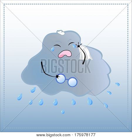 Cartoon character crying out loud. Cute Cloud in glasses with rain vector illustration. Hand-drawn character for feeling hurt or frustrated being upset bad mood child acting up feel sorry concepts