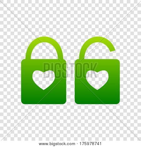 Lock Sign With Heart Shape. A Simple Silhouette Of The Lock. Shape Of A Heart. Vector. Green Gradien