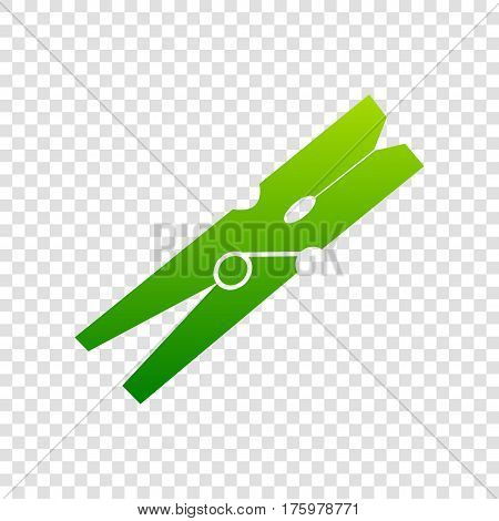 Clothes Peg Sign. Vector. Green Gradient Icon On Transparent Background.