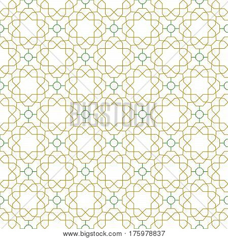 Seamless green and golden ornament in arabian style. Pattern for wallpapers and backgrounds