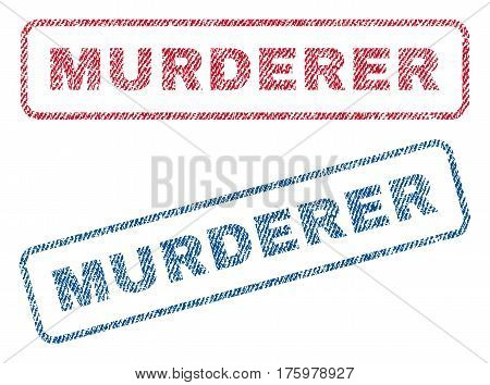 Murderer text textile seal stamp watermarks. Blue red fabric vectorized texture. Vector tag inside rounded rectangular shape. Rubber emblem with fiber textile structure.