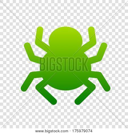 Spider Sign Illustration. Vector. Green Gradient Icon On Transparent Background.