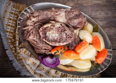 Pot-Au-Feu - French beef stew with a carrot and potatoes