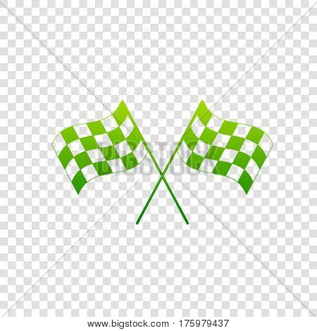 Crossed Checkered Flags Logo Waving In The Wind Conceptual Of Motor Sport. Vector. Green Gradient Ic