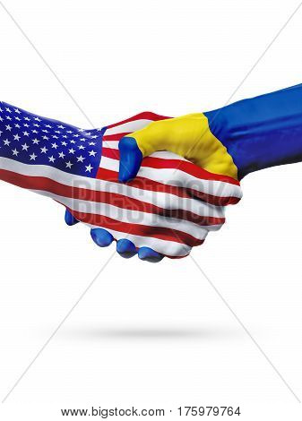 Flags United States and Barbados countries handshake cooperation partnership and friendship or sports competition isolated on white