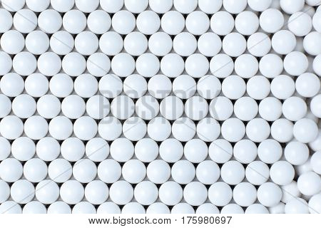 Background Of White Balls. Airsoft 6Mm Bb.