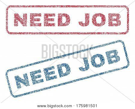 Need Job text textile seal stamp watermarks. Blue red fabric vectorized texture. Vector caption inside rounded rectangular banner. Rubber sticker with fiber textile structure.