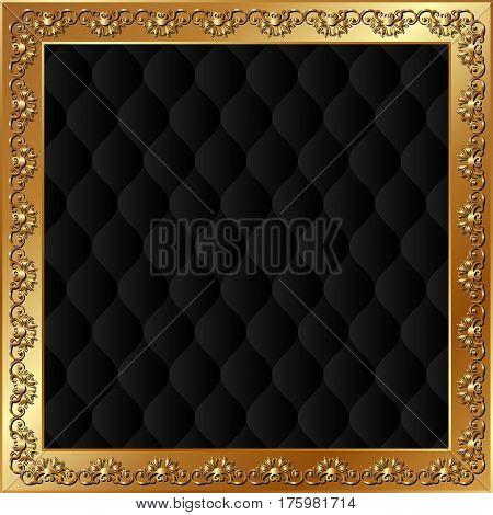 black background with golden frame - vector illustration