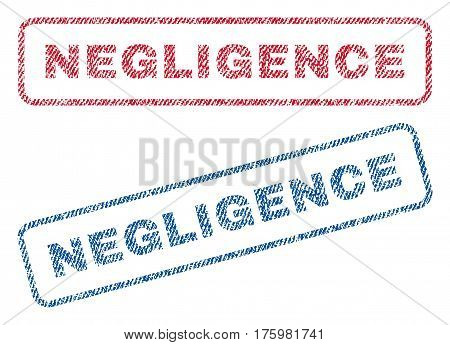 Negligence text textile seal stamp watermarks. Blue red fabric vectorized texture. Vector caption inside rounded rectangular shape. Rubber sign with fiber textile structure.