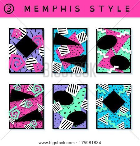6 vibrantly colorful memphis style covers with geometric shapes. US Letter size. Easily croppable to A4 size. Graphics are grouped and in several layers for easy editing. The file can be scaled to any size.