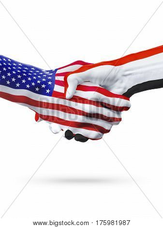 Flags of United States and Yemen countries handshake cooperation partnership and friendship or sports competition isolated on white