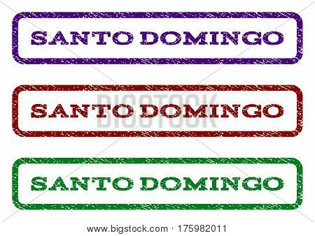 Santo Domingo watermark stamp. Text tag inside rounded rectangle frame with grunge design style. Vector variants are indigo blue, red, green ink colors. Rubber seal stamp with dust texture.