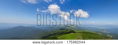 Panoramic view of Carpathian mountains in summer