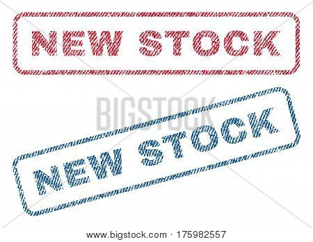 New Stock text textile seal stamp watermarks. Blue red fabric vectorized texture. Vector caption inside rounded rectangular banner. Rubber sticker with fiber textile structure.
