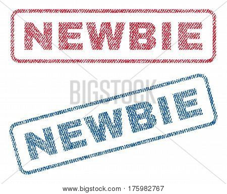 Newbie text textile seal stamp watermarks. Blue red fabric vectorized texture. Vector caption inside rounded rectangular shape. Rubber sign with fiber textile structure.