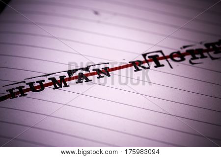 no human rights strikethrough text on paper in retro style