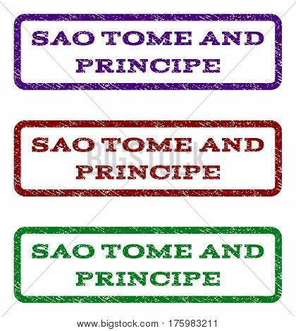 Sao Tome and Principe watermark stamp. Text caption inside rounded rectangle frame with grunge design style. Vector variants are indigo blue, red, green ink colors.