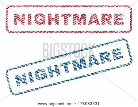 Nightmare text textile seal stamp watermarks. Blue red fabric vectorized texture. Vector caption inside rounded rectangular shape. Rubber emblem with fiber textile structure.