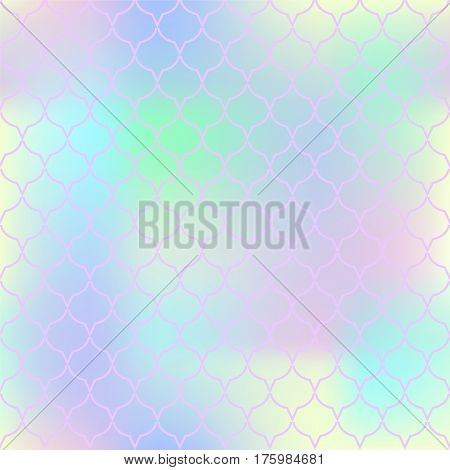 Fantastic fish skin vector pattern. Pale colors fish scale seamless pattern for marine design. Fish tail pattern square tile. Mermaid tail ornament with colorful mesh. Regular scale pink net pattern