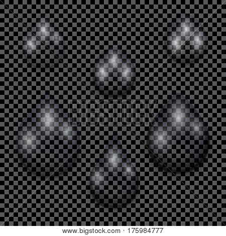 A set of transparent water drops on dark checkered background, vector illustration
