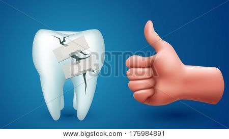illustration of illness single tooth cured by adhesive plaster with male hand with thumb up on blue background