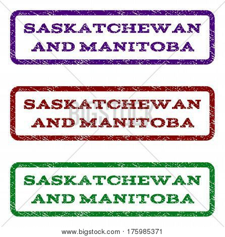 Saskatchewan and Manitoba watermark stamp. Text tag inside rounded rectangle frame with grunge design style. Vector variants are indigo blue, red, green ink colors.