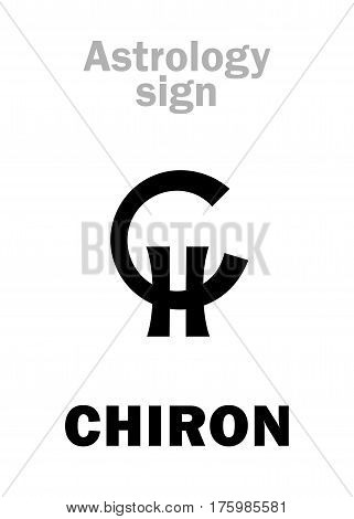 Astrology Alphabet: CHIRON, planetoid (little planet). Hieroglyphics character sign (initial symbol).