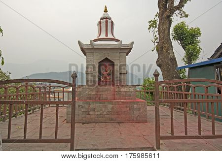 Religious Shrine in Pokhara Nepal on a hazy day
