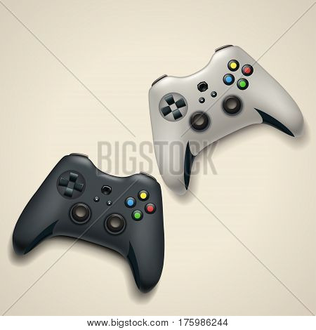 illustration of pair white and black color gamepads with shadows on bright background
