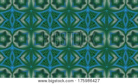 Kaleidoscopic blue and green pattern is computer graphics and it can be used in the design of textiles in the printing industry in a variety of design projects.