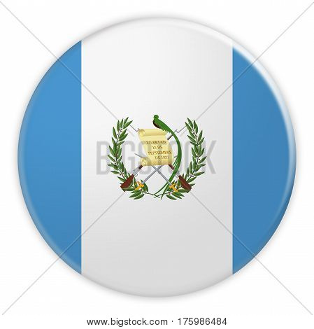 Guatemala Flag Button News Concept Badge 3d illustration on white background