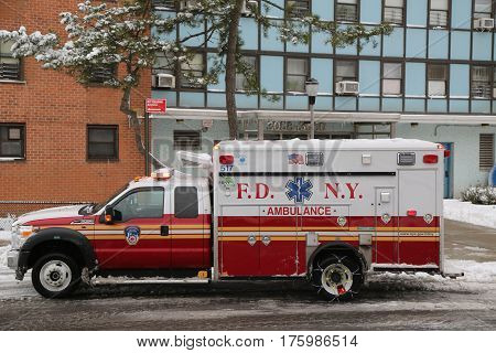 NEW YORK - FEBRUARY 9, 2017: FDNY Ambulance in Brooklyn. FDNY is the largest combined Fire and EMS provider in the world