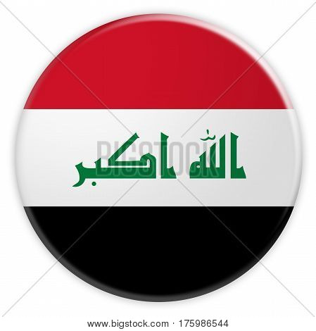 Iraq Flag Button News Concept Badge 3d illustration on white background