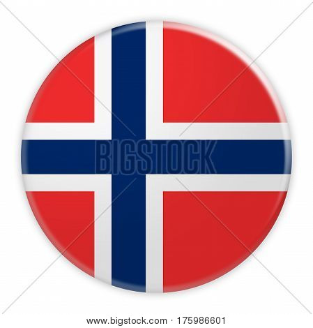 Norway Flag Button News Concept Badge 3d illustration on white background