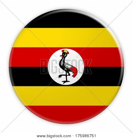 Uganda Flag Button News Concept Badge 3d illustration on white background