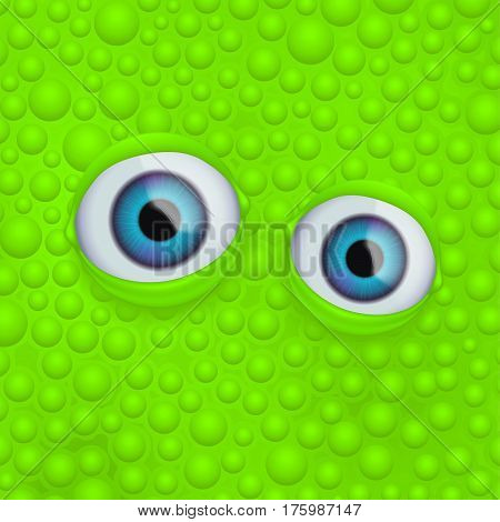illustration of eyes floating in green fluid with bubbles