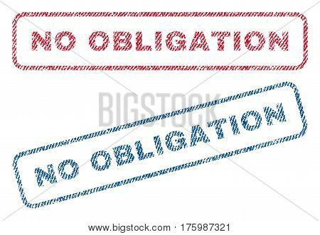 No Obligation text textile seal stamp watermarks. Blue, red fabric vectorized texture. Vector caption inside rounded rectangular shape. Rubber sticker with fiber textile structure.