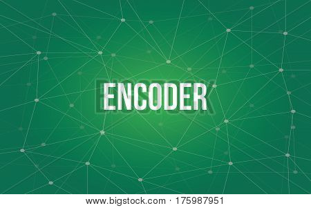 encoder white text illustration with green constellation as background vector