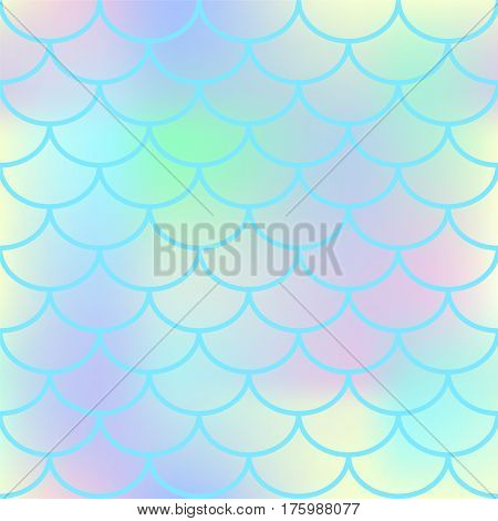 Blue fish scale vector seamless pattern. Square fishscale swatch texture or background. Pale yellow pink gradient mesh. Mermaid pattern or decor element. Fish skin or Mermaid tail texture