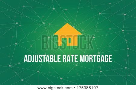 adjustable rate mortgage white text illustration with yellow house silhouette and green constellation as background vector