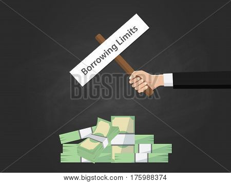 Borrowing limit text on a board near with heap of money and black background vector
