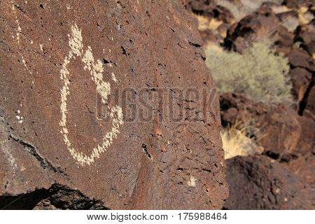 Ancient Native American Rock Art Along the Rinconada Trail in Petroglyph National Monument, Albuquerque, New Mexico