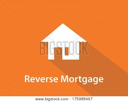Reverse mortgage white text illustration with white house silhouette and orange background vector