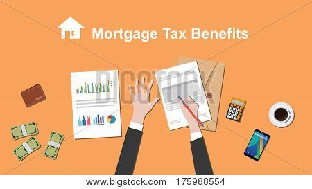 illustration of people counting Mortgage tax benefit on a paperwork with money, folder document on top of table vector